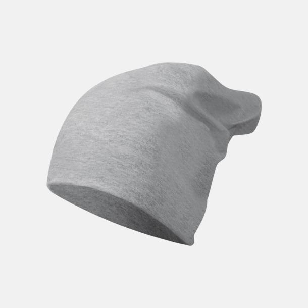 Grey Melange Långa, slätstickade mössor med reklamlogo