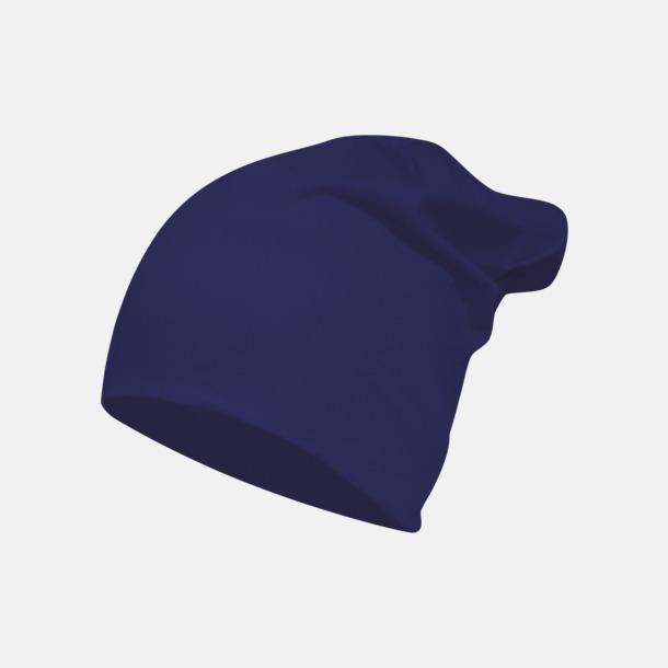Marinblå Långa, slätstickade mössor med reklamlogo