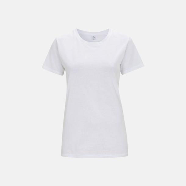 Vit (dam) Eko t-shirts för vuxna & barn - med reklamtryck