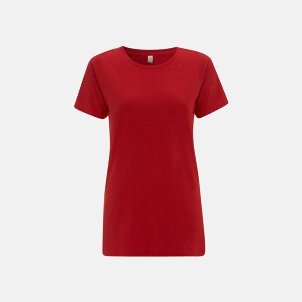 Röd (dam) Eko t-shirts för vuxna & barn - med reklamtryck