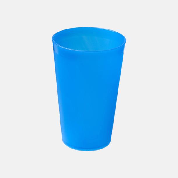 Blå (frostad) Enkla och billiga plastglas med reklamtryck