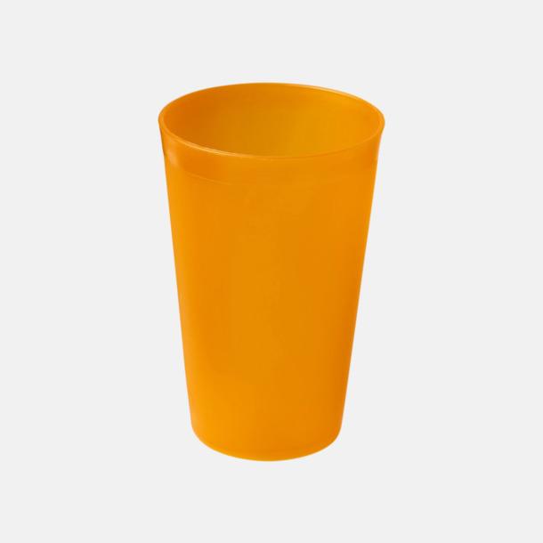 Orange (frostad) Enkla och billiga plastglas med reklamtryck