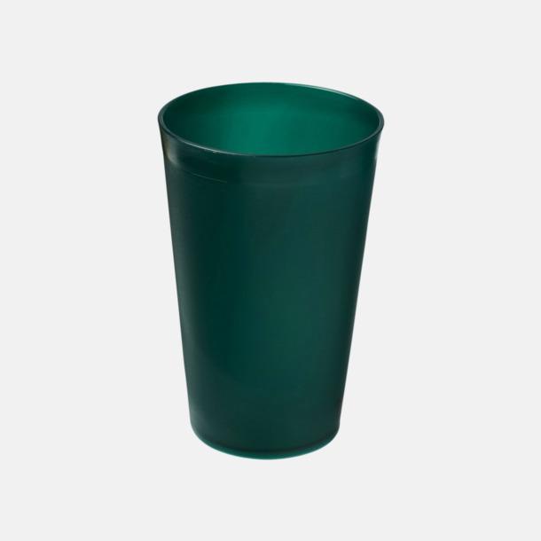 Grön (frostad) Enkla och billiga plastglas med reklamtryck