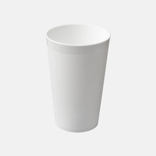Vit Enkla och billiga plastglas med reklamtryck