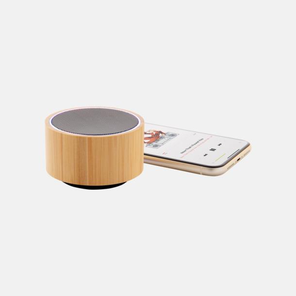 Ljust trä Trådlös bambu högtalare med eget reklamtryck