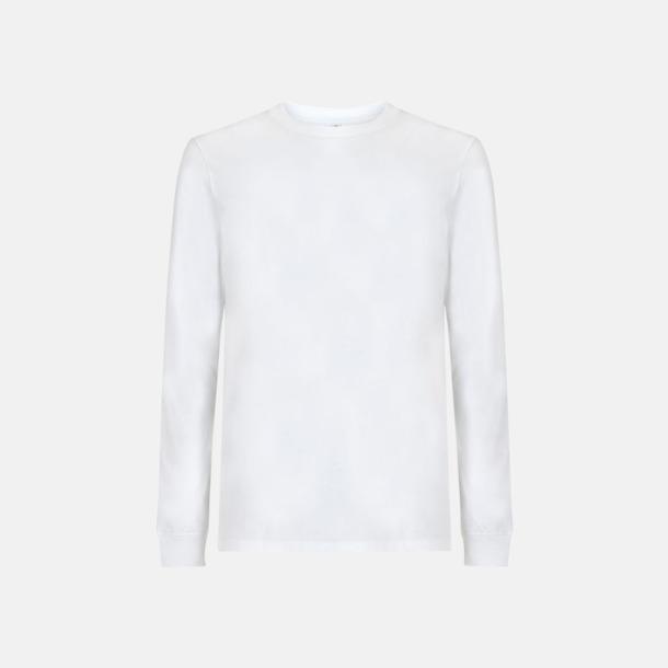 Vit (långärmad) Unisex eko t-shirts med reklamtryck