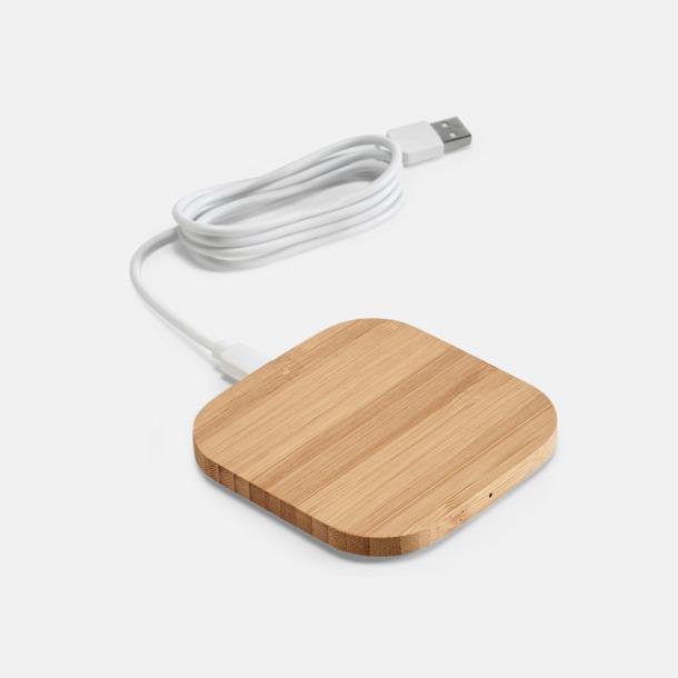 Ljust trä Trådlösa laddningsplattor i bambu med rekalmtryck från Medtryck