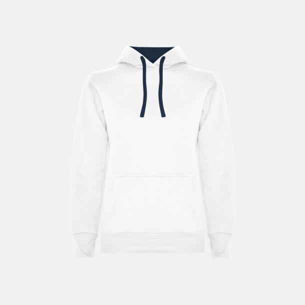 White 01/Navy Blue 55 (dam) Tvåfärgade huvtröjor i herr & dam med reklamtryck