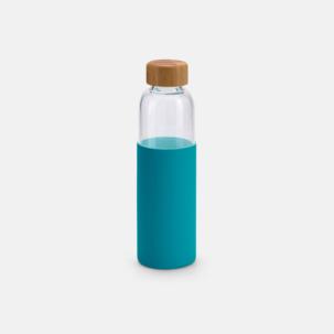 Vattenflaskor i glas med bambulock med eget tryck från oss på Medtryck