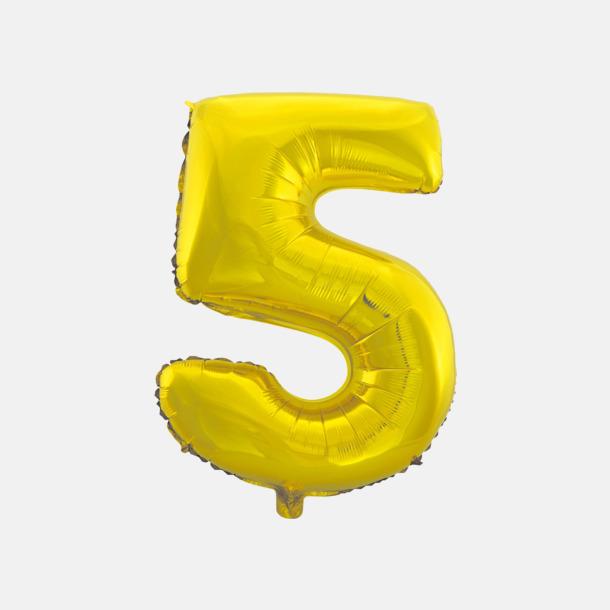5 (50 cm, Guld) Folieballonger formade som siffror och bokstäver hos oss från Medtryck