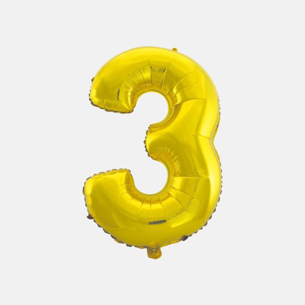 3 (50 cm, Guld) Folieballonger formade som siffror och bokstäver hos oss från Medtryck