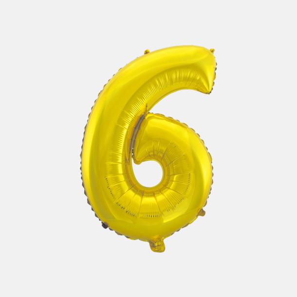 6 (50 cm, Guld) Folieballonger formade som siffror och bokstäver hos oss från Medtryck