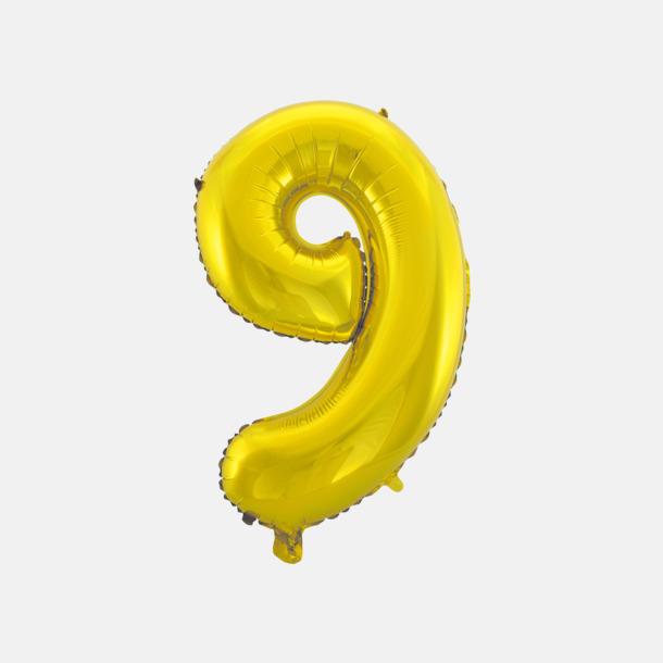 9 (50 cm, Guld) Folieballonger formade som siffror och bokstäver hos oss från Medtryck