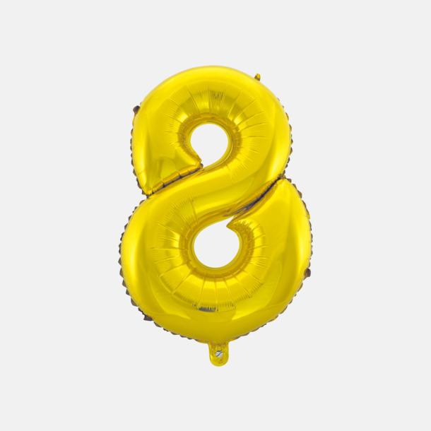 8 (50 cm, Guld) Folieballonger formade som siffror och bokstäver hos oss från Medtryck