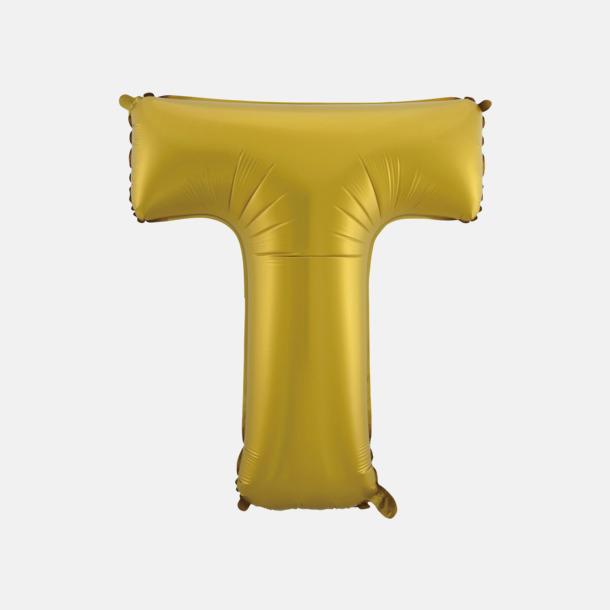 T (50 cm, Guld) Folieballonger formade som siffror och bokstäver hos oss från Medtryck