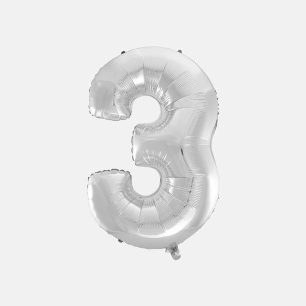 3 (90 cm, Silver) Folieballonger formade som siffror och bokstäver hos oss från Medtryck
