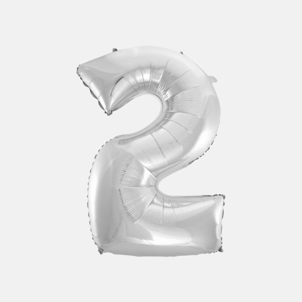 2 (90 cm, Silver) Folieballonger formade som siffror och bokstäver hos oss från Medtryck