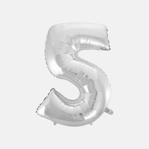 5 (90 cm, Silver) Folieballonger formade som siffror och bokstäver hos oss från Medtryck