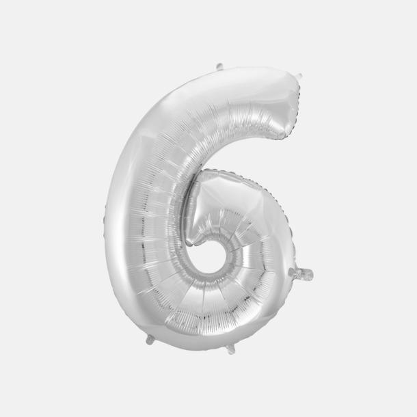 6 (90 cm, Silver) Folieballonger formade som siffror och bokstäver hos oss från Medtryck