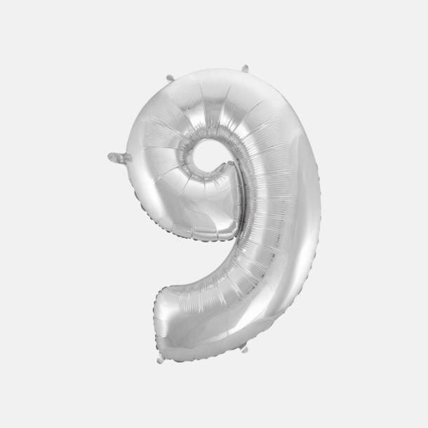 9 (90 cm, Silver) Folieballonger formade som siffror och bokstäver hos oss från Medtryck
