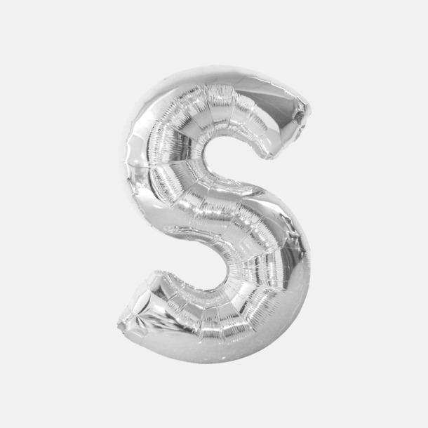 S (90 cm, Silver) Folieballonger formade som siffror och bokstäver hos oss från Medtryck