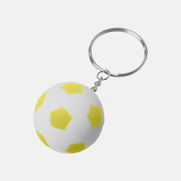 Vit / Gul Fotbollsnyckelringar med reklamtryck