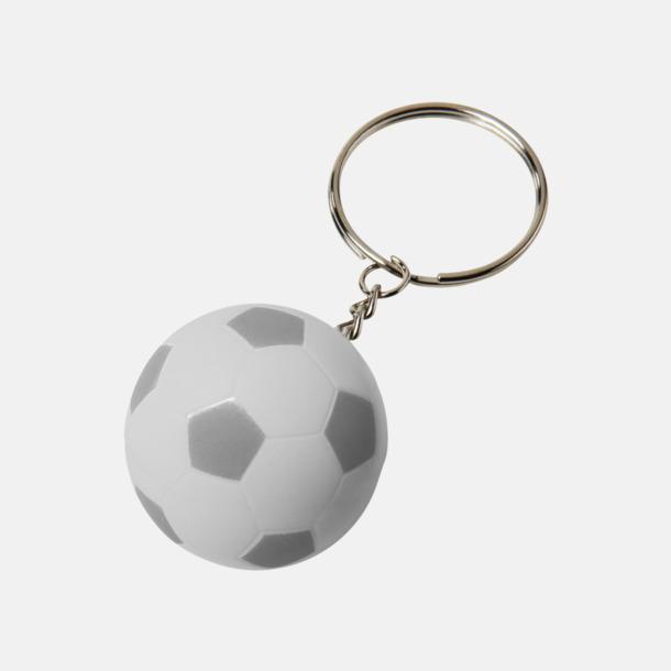 Vit / Silver Fotbollsnyckelringar med reklamtryck