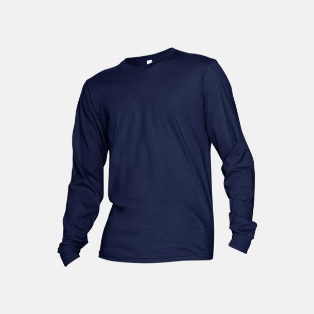 Marinblå Fina, långärmade unisex t-shirts med reklamtryck