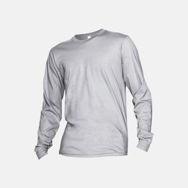 Heather Grey Fina, långärmade unisex t-shirts med reklamtryck
