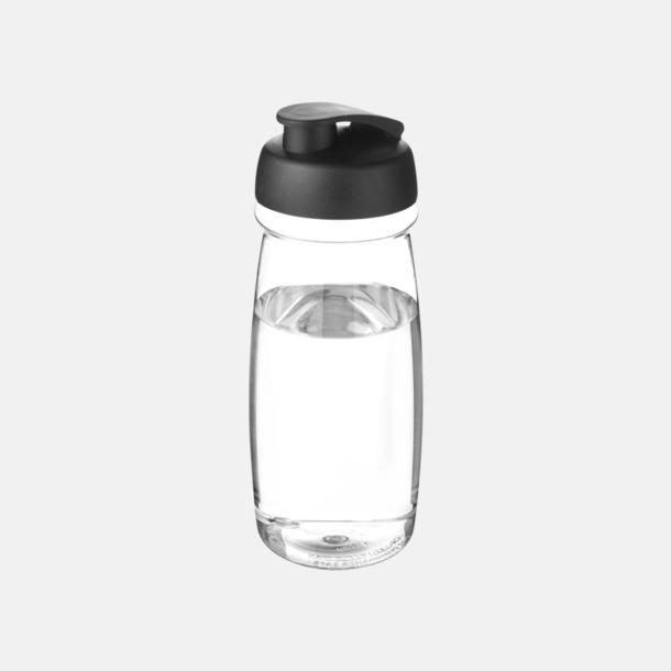 Transparent / Svart 60 cl flaskor i återvunnet material med reklamtryck