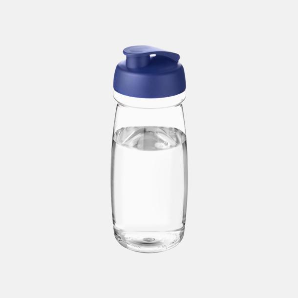 Transparent / Blå 60 cl flaskor i återvunnet material med reklamtryck