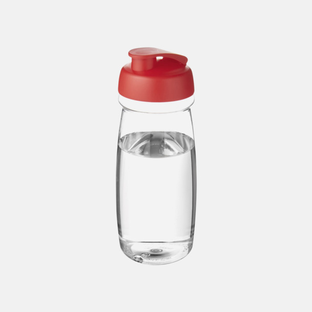 Transparent / Röd 60 cl flaskor i återvunnet material med reklamtryck