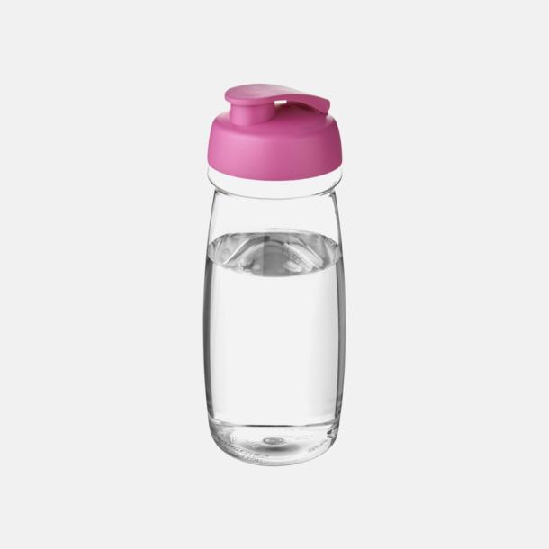 Transparent / Rosa 60 cl flaskor i återvunnet material med reklamtryck