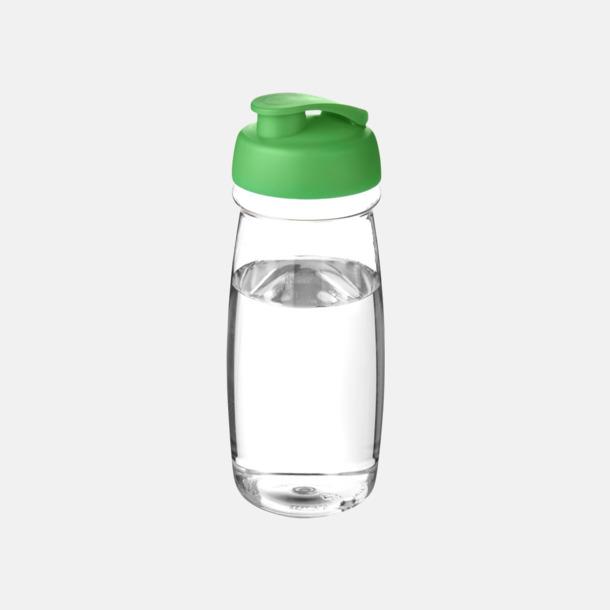 Transparent / Grön 60 cl flaskor i återvunnet material med reklamtryck
