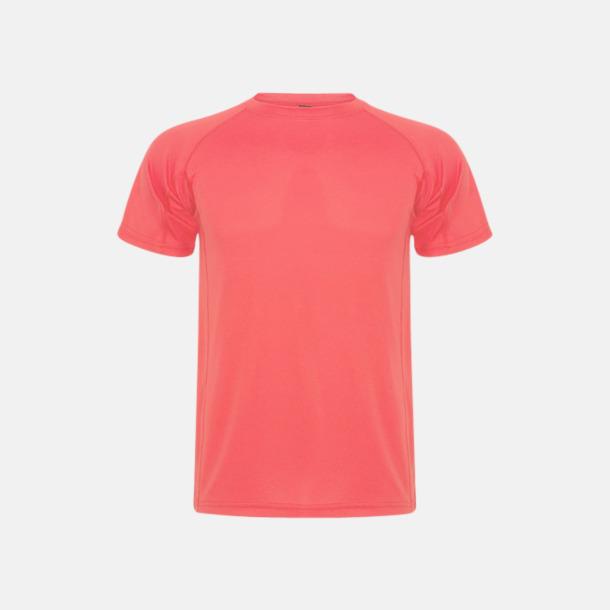 Fluor Coral (unisex, barn) Billiga sport t-shirts i unisex, dam & barn - med reklamtryck