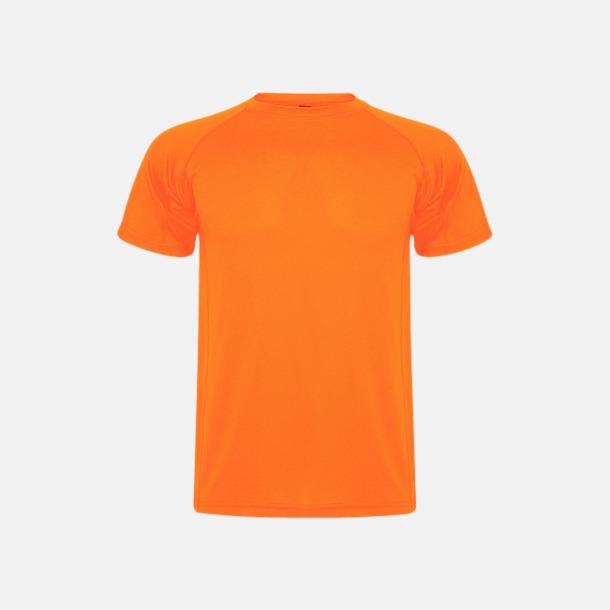 Fluor Orange (unisex, barn) Billiga sport t-shirts i unisex, dam & barn - med reklamtryck