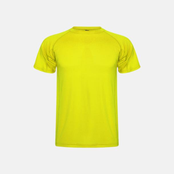 Fluor Yellow (unisex, barn) Billiga sport t-shirts i unisex, dam & barn - med reklamtryck