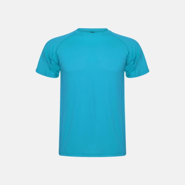 Turkos (unisex, barn) Billiga sport t-shirts i unisex, dam & barn - med reklamtryck