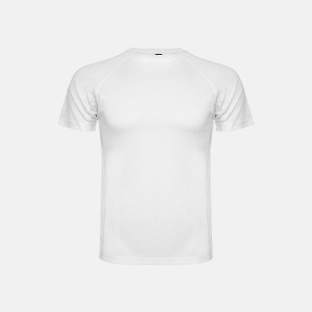 Vit (unisex, barn) Billiga sport t-shirts i unisex, dam & barn - med reklamtryck