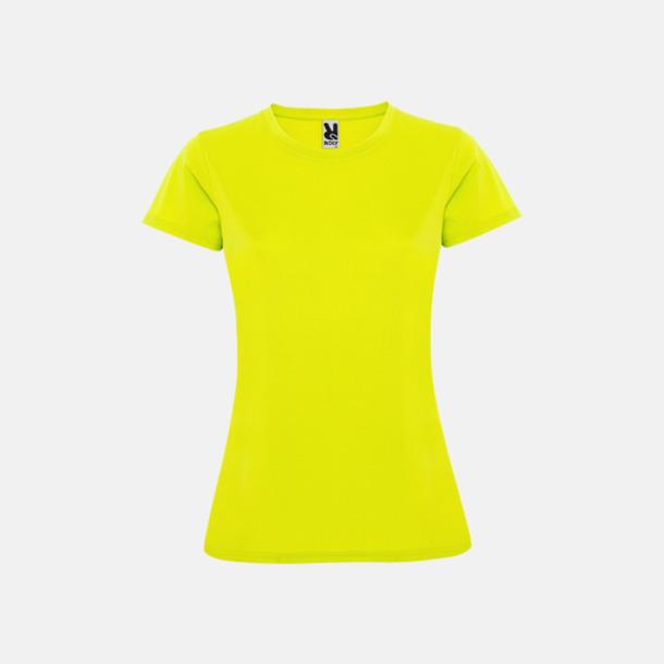 Fluor Yellow (dam) Billiga sport t-shirts i unisex, dam & barn - med reklamtryck