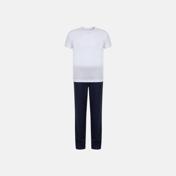 Vit/Marinblå (barn) 2 varianter av pyjamasset i påse med reklamtryck