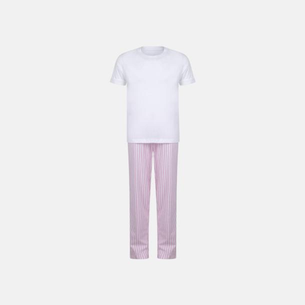 Vit/Rosa (barn) 2 varianter av pyjamasset i påse med reklamtryck