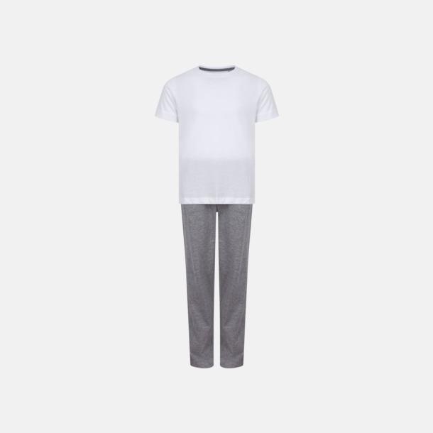 Vit/Heather Grey (barn) 2 varianter av pyjamasset i påse med reklamtryck
