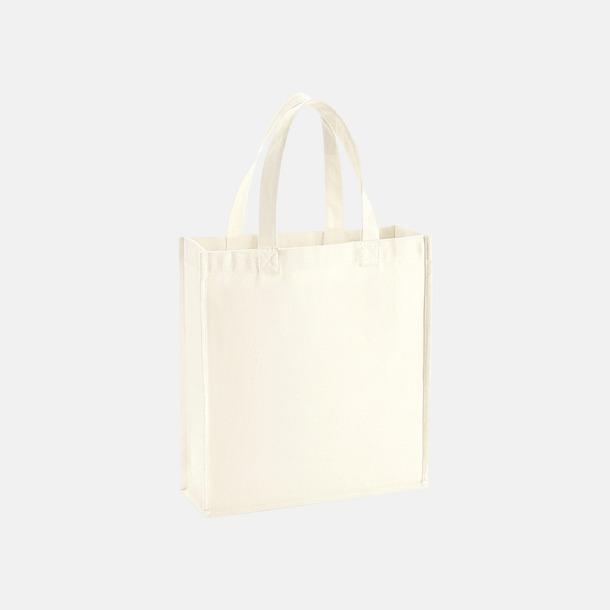 Natur Små 2-färgade premium bomullspåsar med reklamtryck