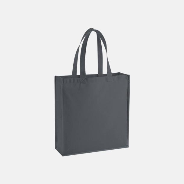 Graphite Grey 2-färgade premium bomullspåsar med reklamtryck