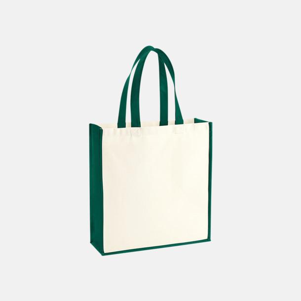 Natur/Bottle Green 2-färgade premium bomullspåsar med reklamtryck
