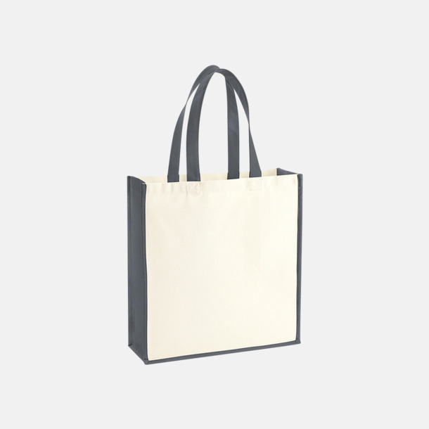 Natur/Graphite Grey 2-färgade premium bomullspåsar med reklamtryck