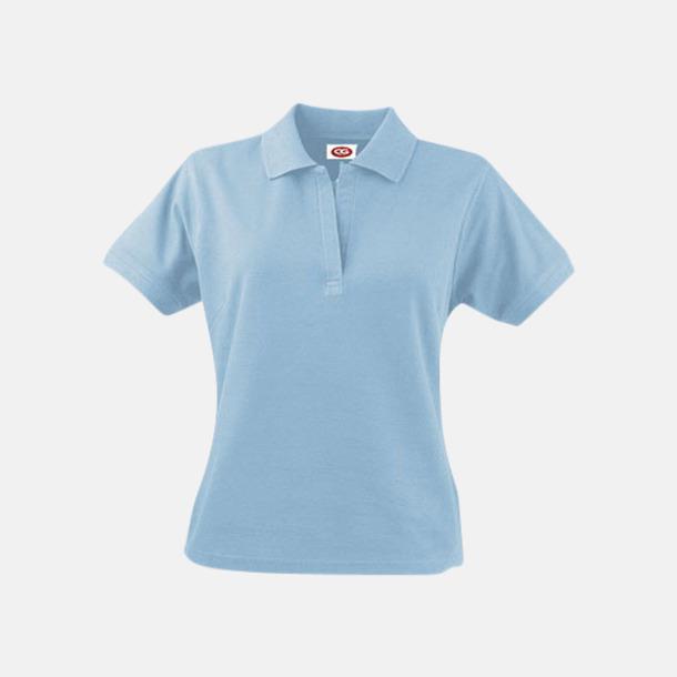 Ljusblå (dam) Arbetspikétröjor i herr- och dammodell med reklamtryck