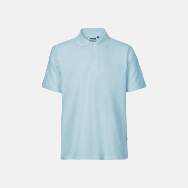 Ljusblå (herr) Fairtrademärkta pikétröjor i herr- och dammodeller med brodyr