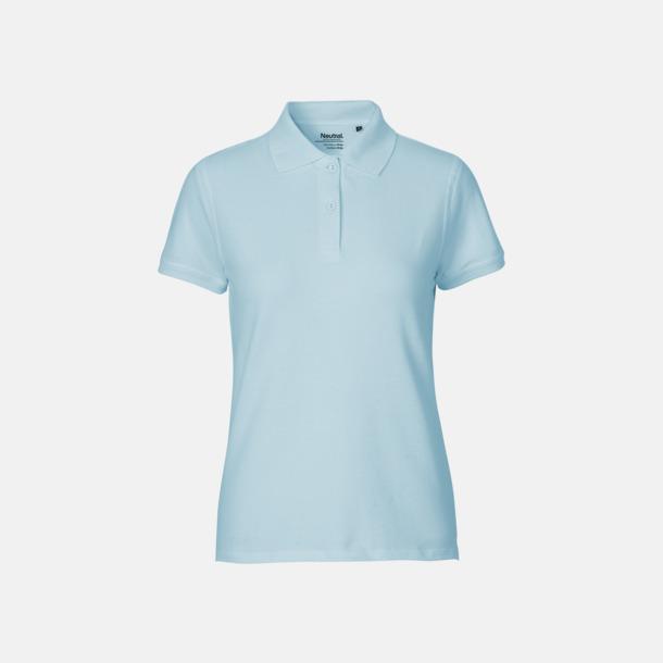 Ljusblå (dam) Fairtrademärkta pikétröjor i herr- och dammodeller med brodyr